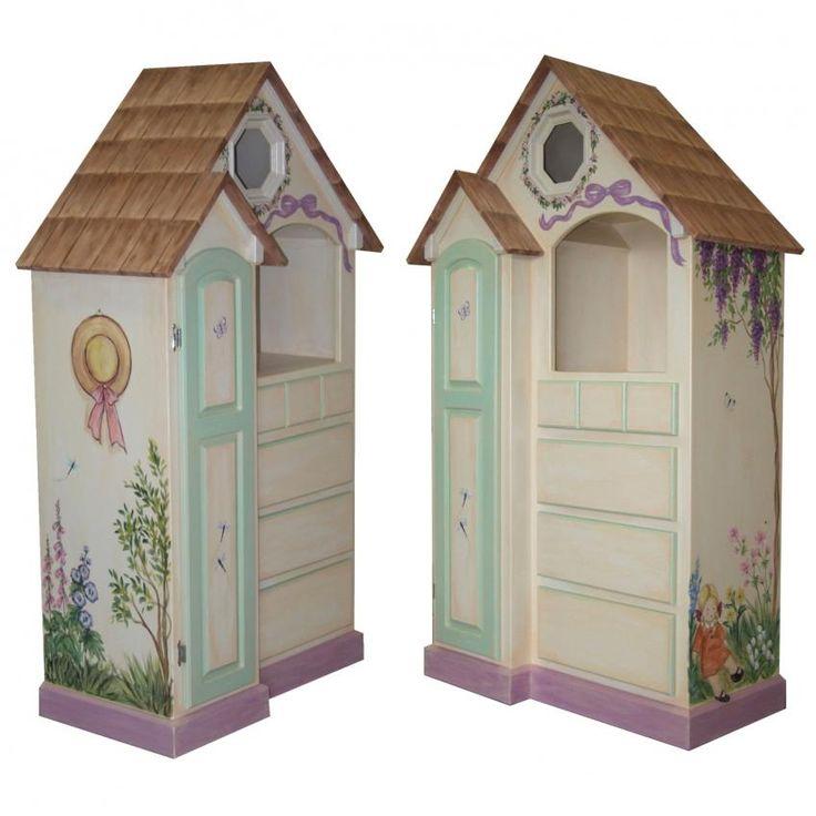 Custom Dollhouse Dresser www.sweetretreatkids.com #sweetretreatkids #kidsdresser #kidsstorage #kidschest #kidsshelves #customdresser #kidsdollhouse #dollhousedresser