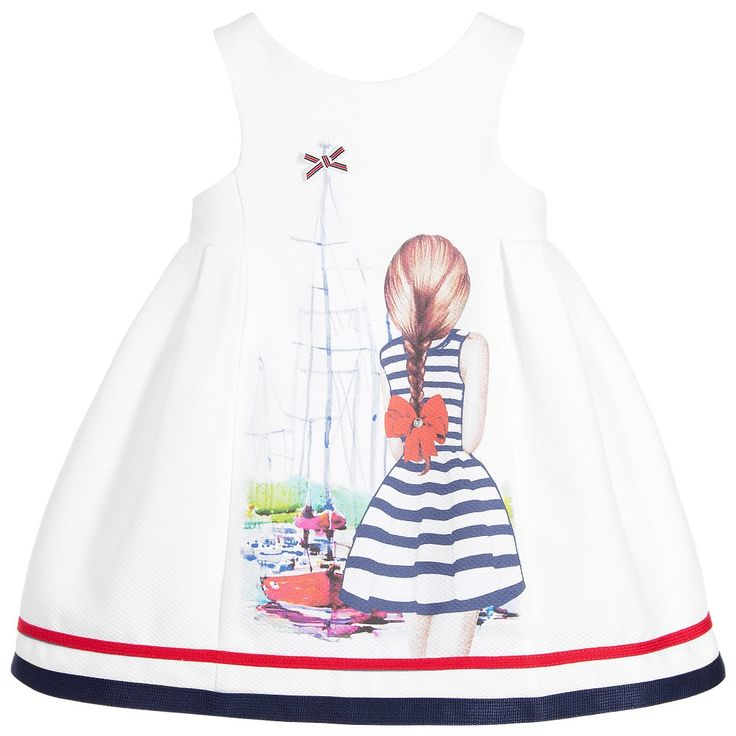 Balloon Chic - Girls White Nautical Piqué Dress | Childrensalon