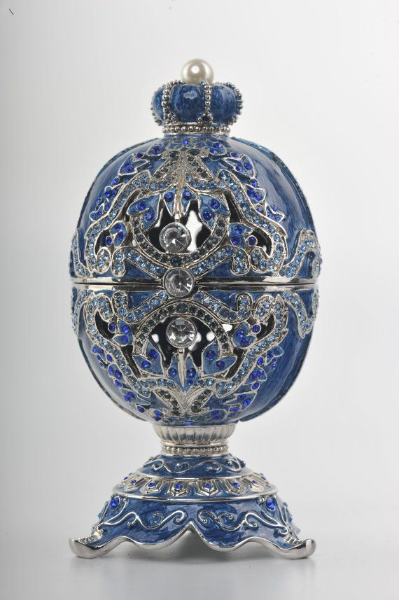 Decorated Swarovski Blue Faberge Egg with pearl by KerenKopal, $185.00