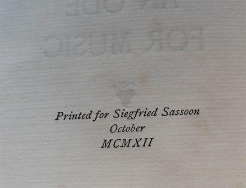 SASSOON, Siegfried. AN ODE FOR MUSIC