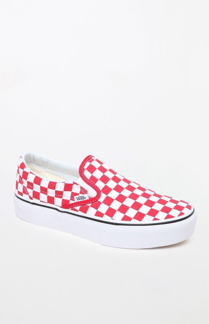 53dd3509e Vans Women s Classic Slip-On Platform Sneakers - 4.5 Red in 2019 ...