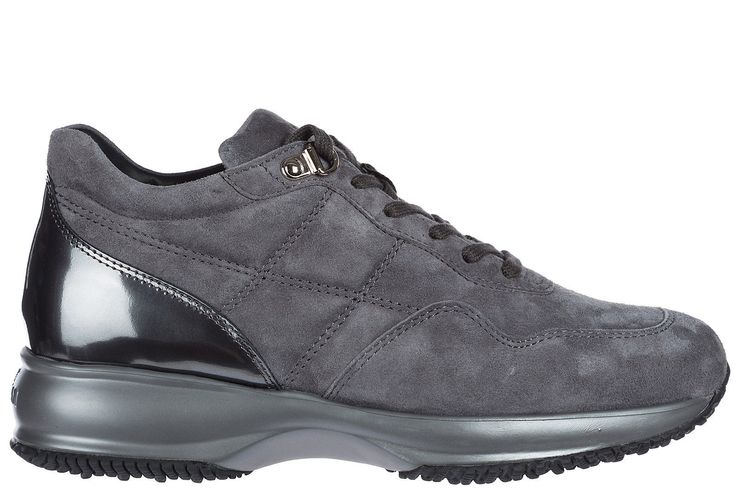 HOGAN WOMEN'S SHOES SUEDE TRAINERS SNEAKERS NEW GREY 026