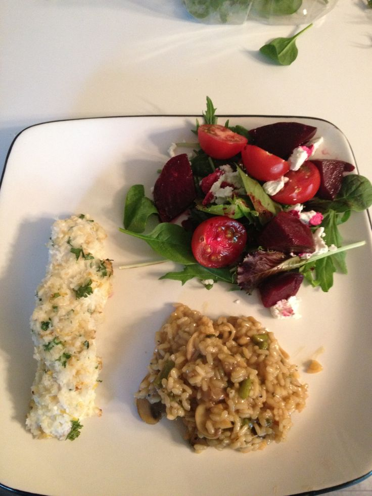 Crusted Halibut, Wild Mushroom Champagne Risotto and a beet goat ...
