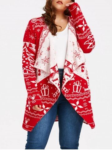 258cd010ac Red Plus Size Christmas Cardigan