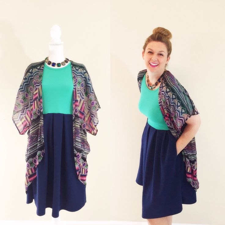 LuLaRoe Amelia Dress. Color Block. Kimono. Statement Necklace. | LuLaRoe Amelia Dress ...
