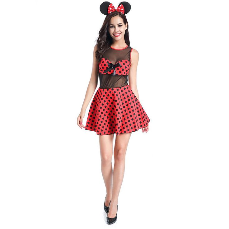 Red & Black Polka Dots Sexy Mouse Costume Halloween Carnival Games Animal Fancy Dress Role Play Outfits Adult Cosplay Costumes