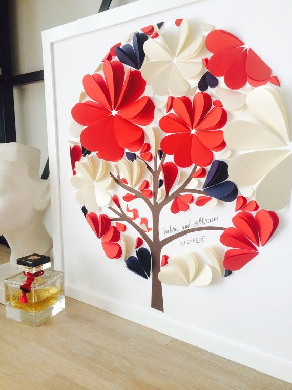 Guest Book Ideas – Unique Guestbook – Wedding Guest Book Alternative – Red, Navy Blue and Ivory Guest Book