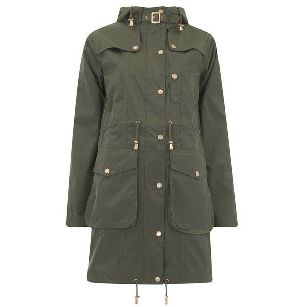 Ilse Jacobsen Women's Pearl Rain Raincoat - Army (270 CAD) ❤ liked on Polyvore featuring outerwear, coats, green, hooded rain coat, rain coat, green rain jacket, toggle coat and hooded rain jacket