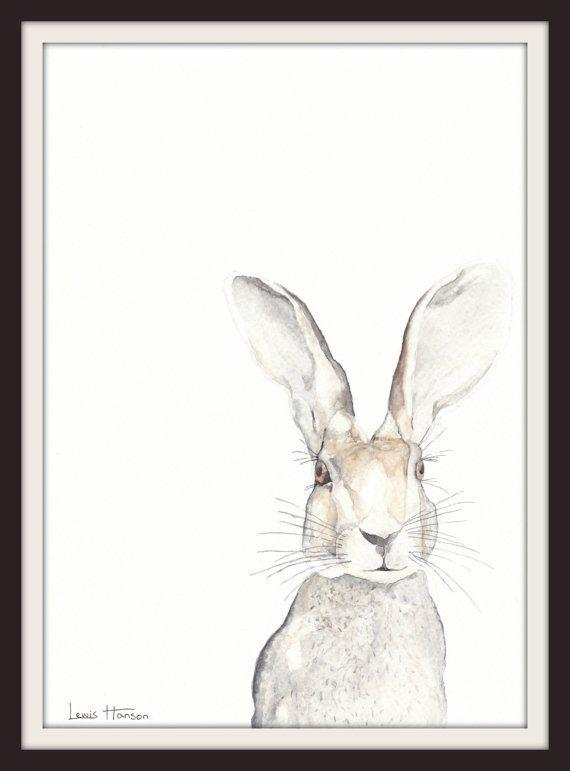 Watercolour Hare Print- Watercolour painting- Art Print- Nursery Art- Animal Art- Hare- Print- Woodland- Nature- Art by Lewis Hanson