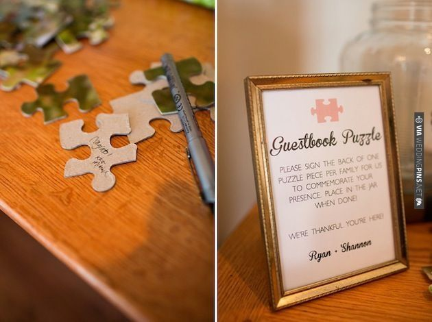 a guestbook puzzle - great idea! | CHECK OUT MORE IDEAS AT WEDDINGPINS.NET | #weddings #weddinginspiration #inspirational