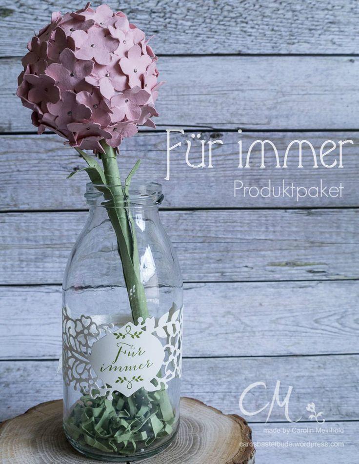 Deko Idee Mit Vinatge Touch, Vase, Blume Aus Papier, Stempelset Für