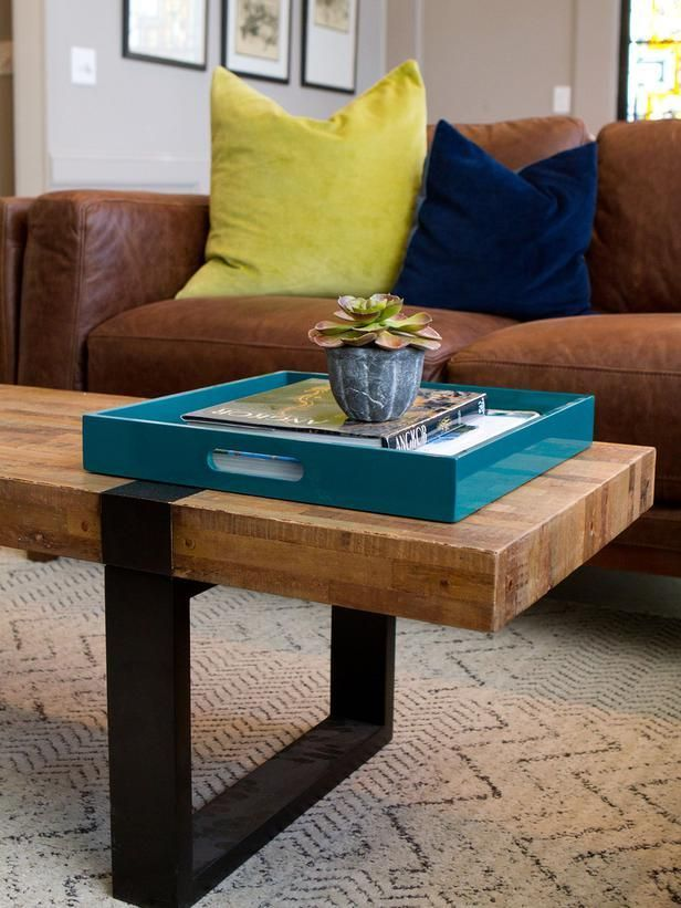 Popular makeovers from the HGTV hit series, Property Brothers -->  http://hg.tv/vyjwDecor, Property Brothers, Coffee Tables, Leather Couch, Color Schemes, Brown Leather, Colors Schemes, Colors Pillows, Hgtv S Property