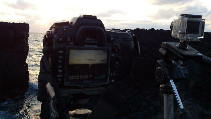 一眼とGOPROで夕陽の撮影。 雲が。。
