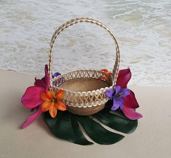 Palm Leaf Orchid /& Lilies Ring Bearer Alternative Palm Wedding Hawaiian Palm Coconuts Shell  Ringbearer Coconut Tropical Ring Pillow