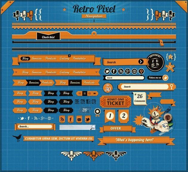 RetroPixel GUI set, 1000+ retro and vintage elements
