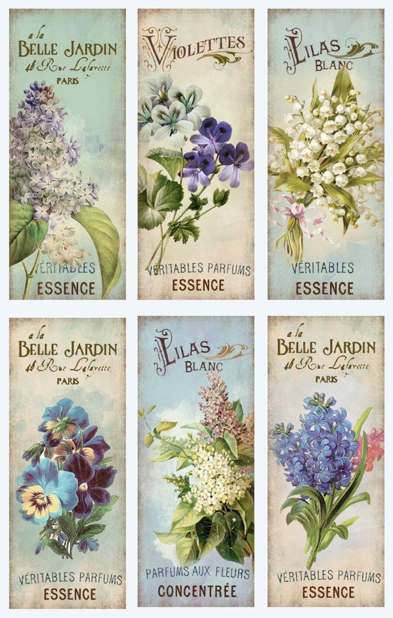 Some pretty vintage floral perfume labels that would make pretty gift tags, including one with violets and one with pansies.