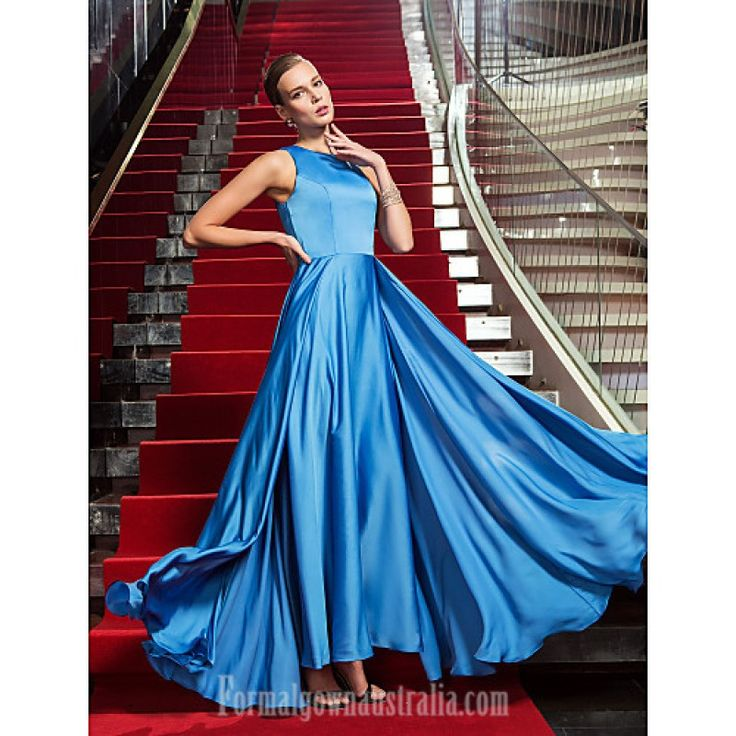 Australia Formal Evening Dress Military Ball Dress Ocean Blue Plus Sizes Dresses Petite A-line Jewel Long Floor-length Satin Chiffon Formal Dress Australia