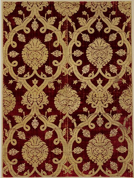 ottoman furnishing fabric • 16th century silk velvet • made in Bursa to challenge Italian competition • stay with us at www.istanbulplace.com holiday apartments to see more of these in the museum collections there