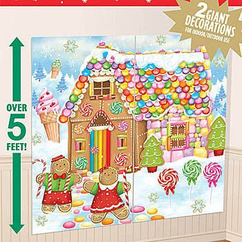 This Sweet Holiday Scene Setter features a colorful gingerbread house along with a gingerbread man and woman.  The scene setter is made of light-weight plastic.