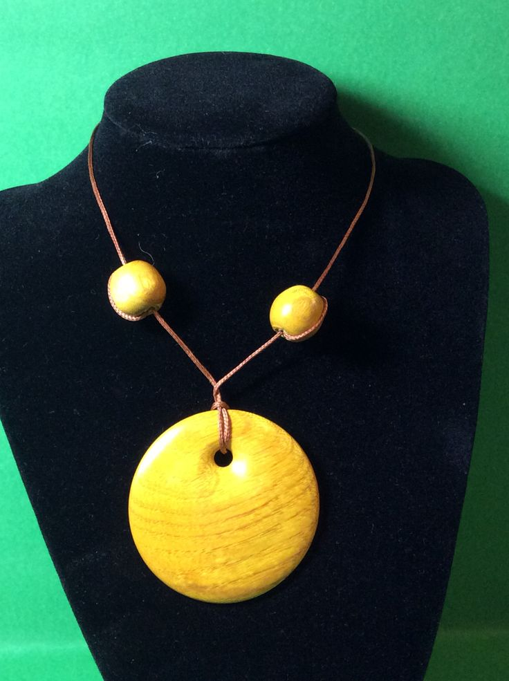 Osage Orange pendant & beads made in NZ. Latheabout.com