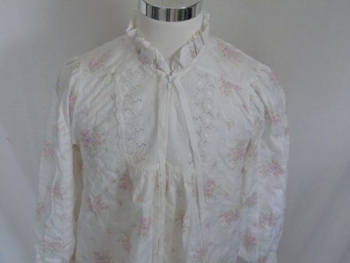 Vintage-Gilligan-OMalley-Long-White-Nightgown-Cotton-Blend-M-White-Pink-Floral