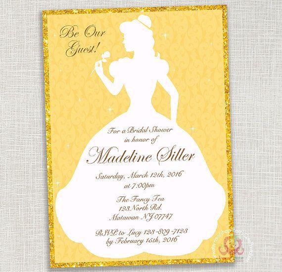 Disney Belle Princess Bridal Shower Invitation Digital File