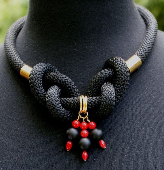 VENTA negro conjunto de joyería de cuerda de escalada, cuerda, ónix negro y joyas de coral conjunto, collar y pulsera, nudos náuticos, joyería hecha a mano