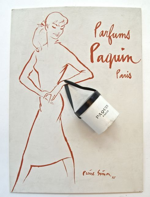 16.03.10 Advertisement board for Paquin Perfume, 1955, donated by Jonathan Walford