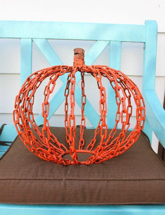 Hand made metal Pumpkin Fall Sculpture Found art metal welded ART Halloween Decoration