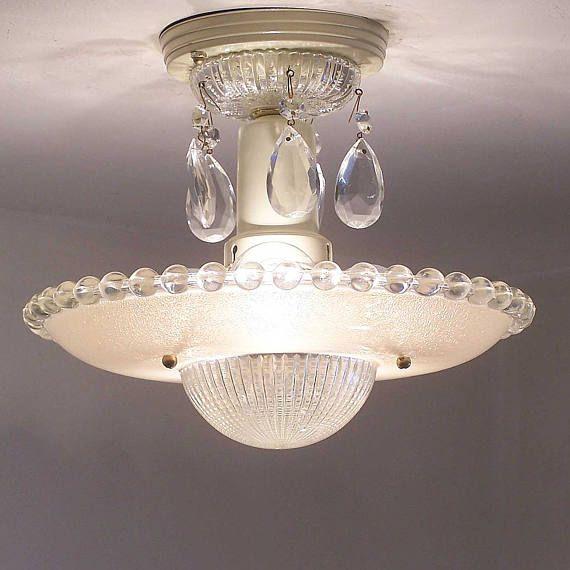 173b Vintage Art Deco Ceiling Light Chandelier Fixture Glass Tan 3 Light Ceiling Lights Chandelier Fixtures Vintage Light Fixtures