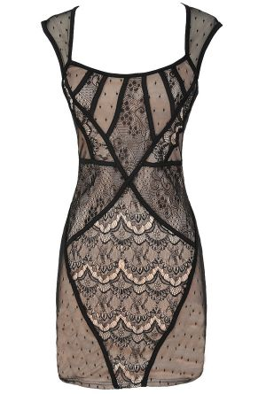 Lace Assortment Lingerie Inspired Dress in Black/Nude  www.lilyboutique.com