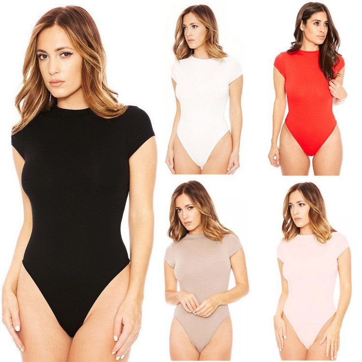 Women's Ladies Romper Bodycon Bodysuit Jumpsuit Leotard Stretch T-Shirt Top Vest