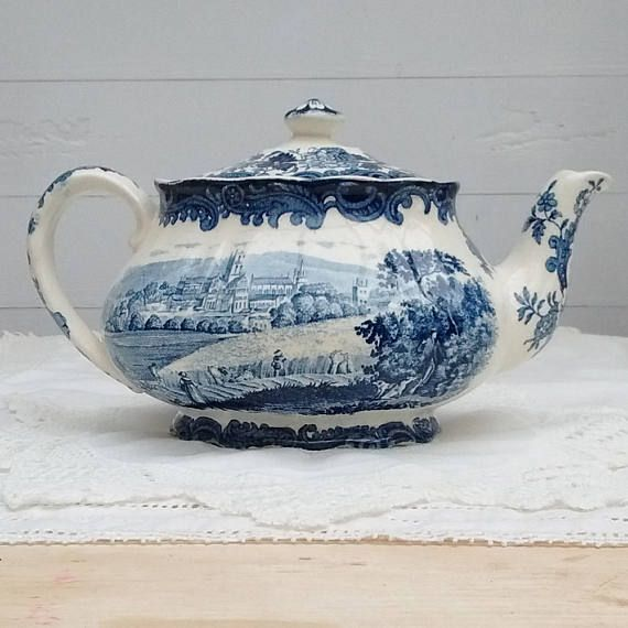 Palissy 1790 Avon Scenes Staffordshire Teapot Hand Engraved