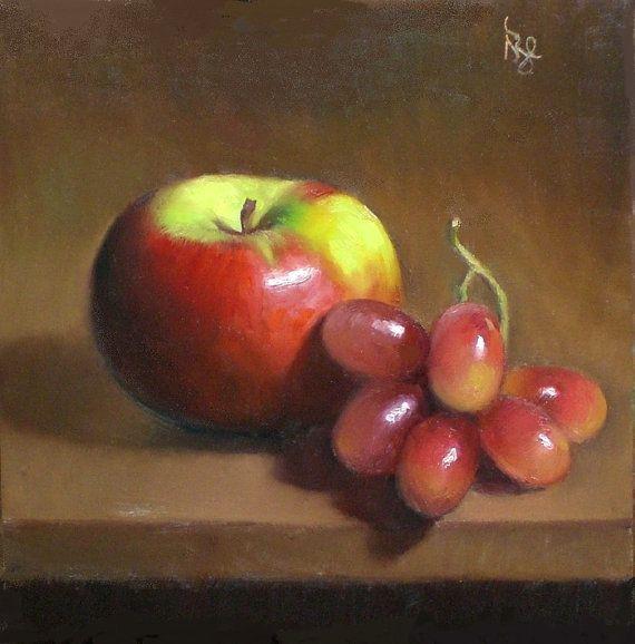 Manzana de noviembre y uva pintura al óleo por DebbiesArtStudio