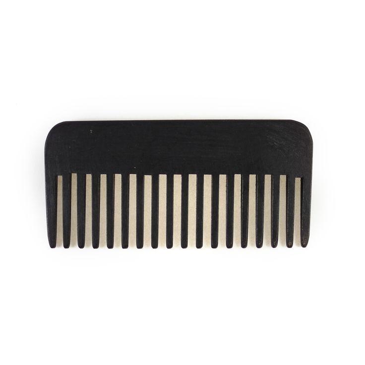 Pettine nero lineare a denti alti in legno per capelli