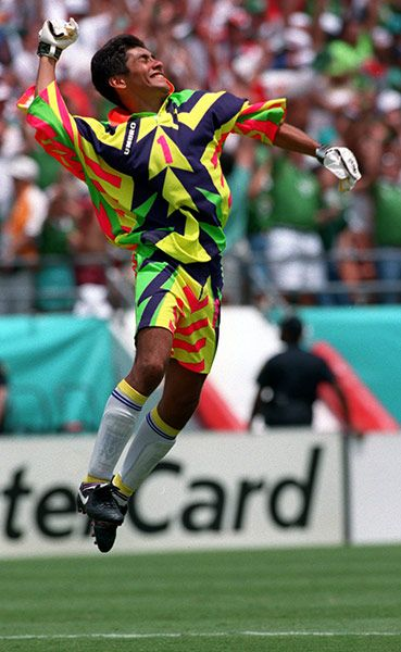 Credit: Billy Stickland/Getty Images Goalkeepers jerseys have a rich tradition of being garish – don't believe us … check out this archived gallery – but none could beat this one, a fluorescent Count Dracula effort, designed and worn by Mexico's goalkeeper Jorge Campos at the 1994 World Cup