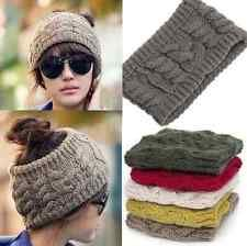 Fashion Women Winter Warm Knit Wool Beret Hat Beanie Braided Crochet Ski Cap hs