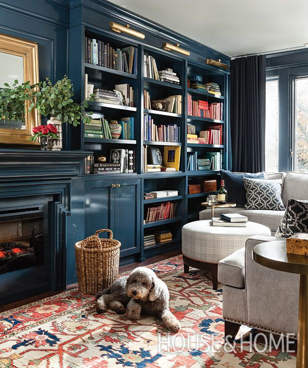 Sticking to a monochromatic palette makes this library feel larger, according to designer Meredith Heron. | Photographer: Michael Graydon