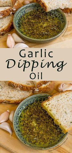Garlic Dipping Oil - a classic combination of lovely dried herbs, fresh garlic, and flavorful olive oil to dip crusty bread in