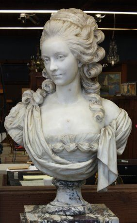marble bust french school (rococo, marie antoinette, georgian period)