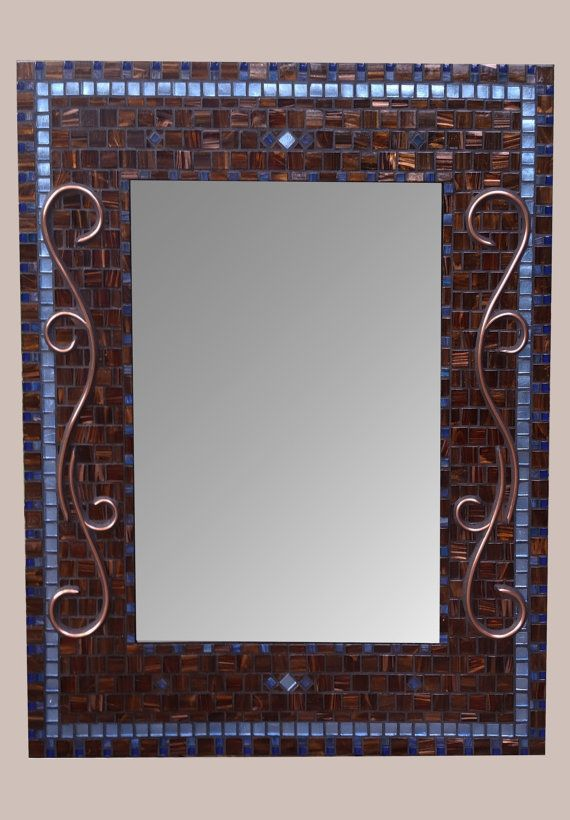 Elegant large blue and brown bathroom mirror with my signature hand crafted copper design! A unique decorative mosaic mirror for your home decor. Perfect as a master bathroom mirror, powder bath mirror, hall mirror or give as a special wedding gift! Add elegance to any room with this original hand crafted rectangle mosaic mirror. Every phase of work performed by me in my home studio! ** Materials ** Rich chocolate brown glass tiles set in the mosaic technique of opus tessellatum create a…