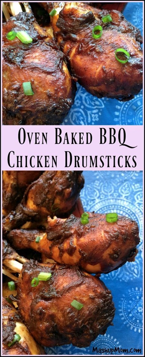 Oven Baked BBQ Chicken Drumsticks -- A juicy and flavorful BBQ chicken recipe! Naturally gluten free (as long as your BBQ sauce is); feeds 8 (or four with leftovers!) http://www.mashupmom.com/oven-baked-bbq-chicken-drumsticks/
