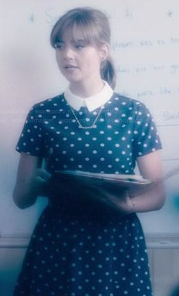 Clara's collared polka dot dress on Doctor Who.  Outfit Details: http://wornontv.net/36536/ #DoctorWho
