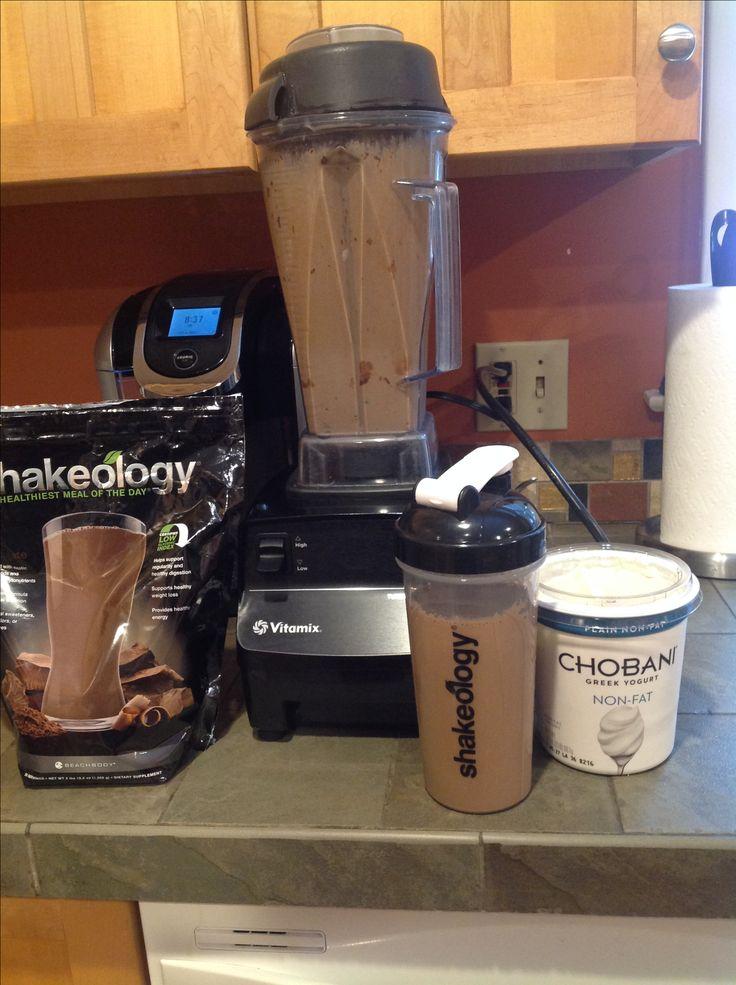 Chocolate Cheesecake Shakeology 1C. Unsweetened almond milk, 1 scoop chocolate shakeology, 2 tblsn of plain Greek yogurt and ice