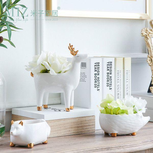 Йонья домой творческие супер Мэн мультфильм животные керамических цветочных горшечных растения контейнер принимающих украшения золоченых украшения