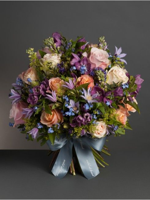 Wild At Heart - Liberty Bouquet - A gentle bouquet of forget-me-nots, nude garden roses, soft peach roses and clematis.