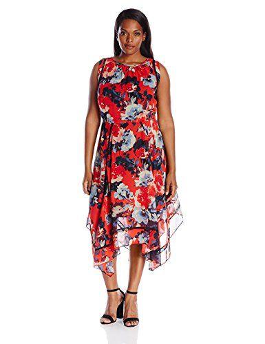 Taylor Dresses Women's Plus Size Hankie Hem Floral Chiffon Rick-Rack Crochet Insert