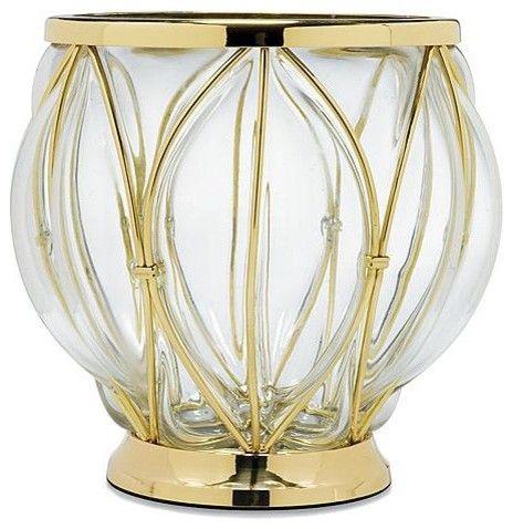Caged Glass Waste Basket traditional waste baskets