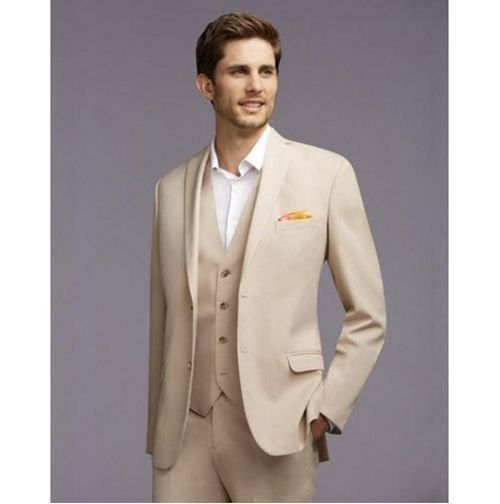 Groom Tuxedos Men's Suits Champagne Groomsman Best Man Wedding Prom Suits