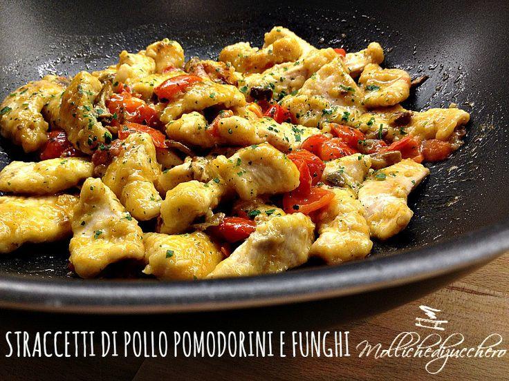 straccetti di pollo pomodorini e funghi